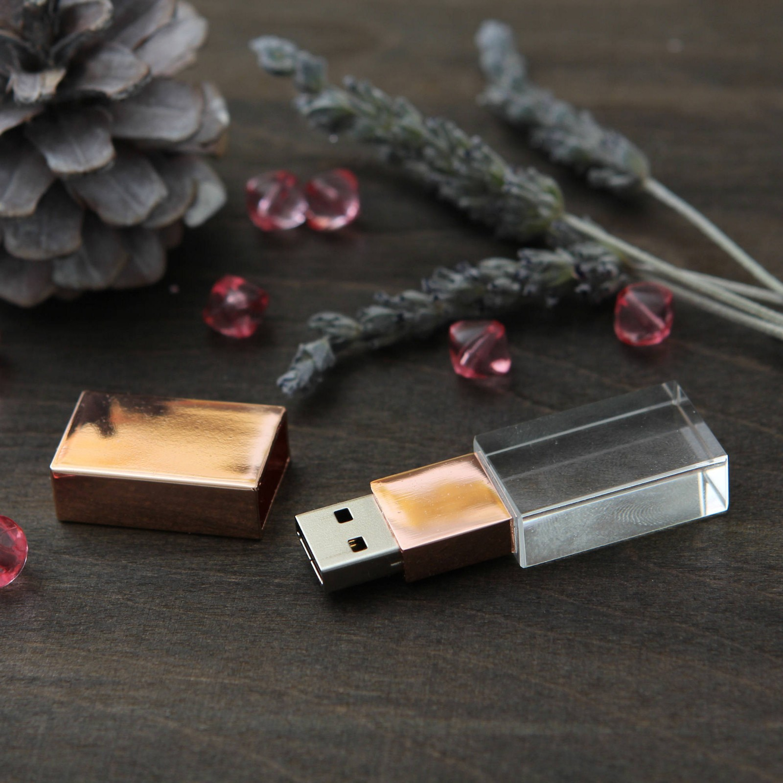Glass Crystal USB 3.0 Flash Drive Customized Family Wedding Gift Pendrive 16GB
