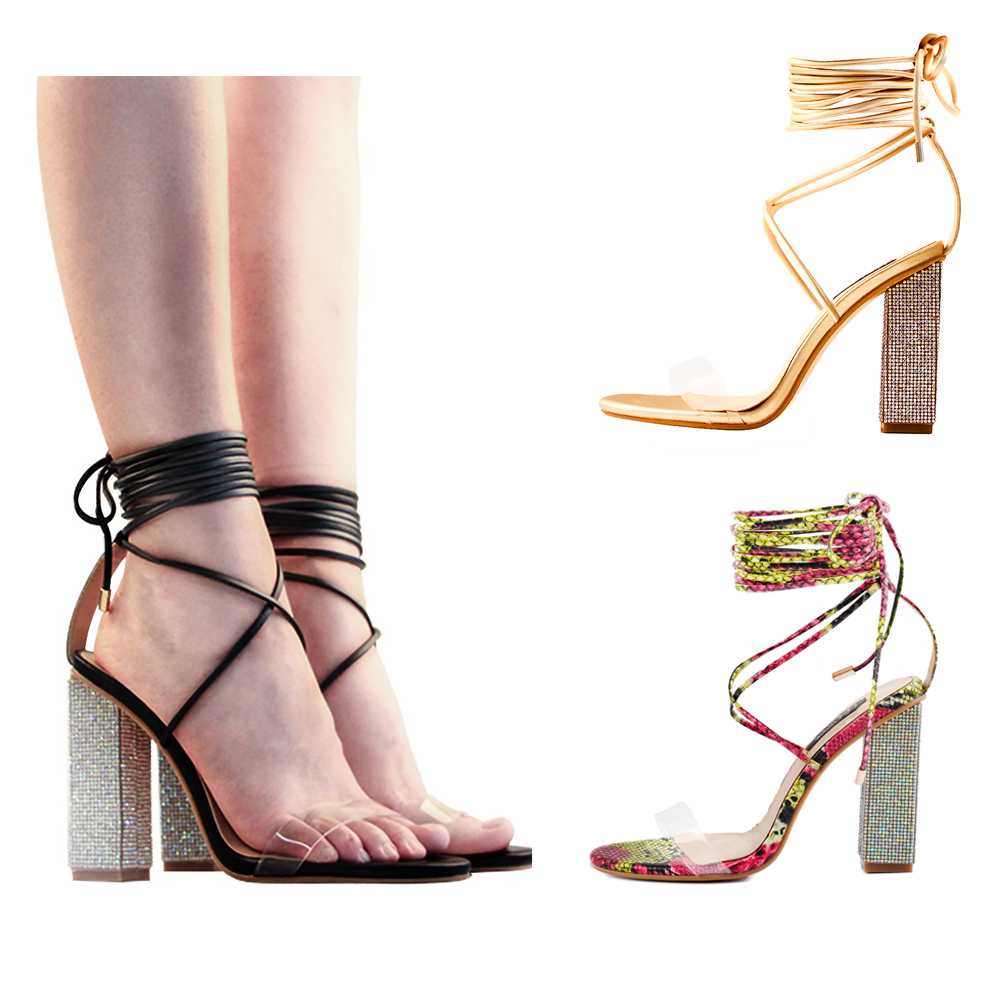 fe44e585c2c Details about Womens Gladiator Ankle Strap Clear Lace up Chunky High Heel  Strappy Sandals Shoe