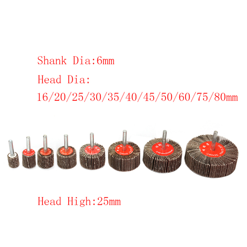 5Pcs 35mm Flap Sanding Wheel Sandpaper Flap Disc Set 6mm Shank Power Rotary Tools for Deburring and Blending of Flat and Contoured Surfaces