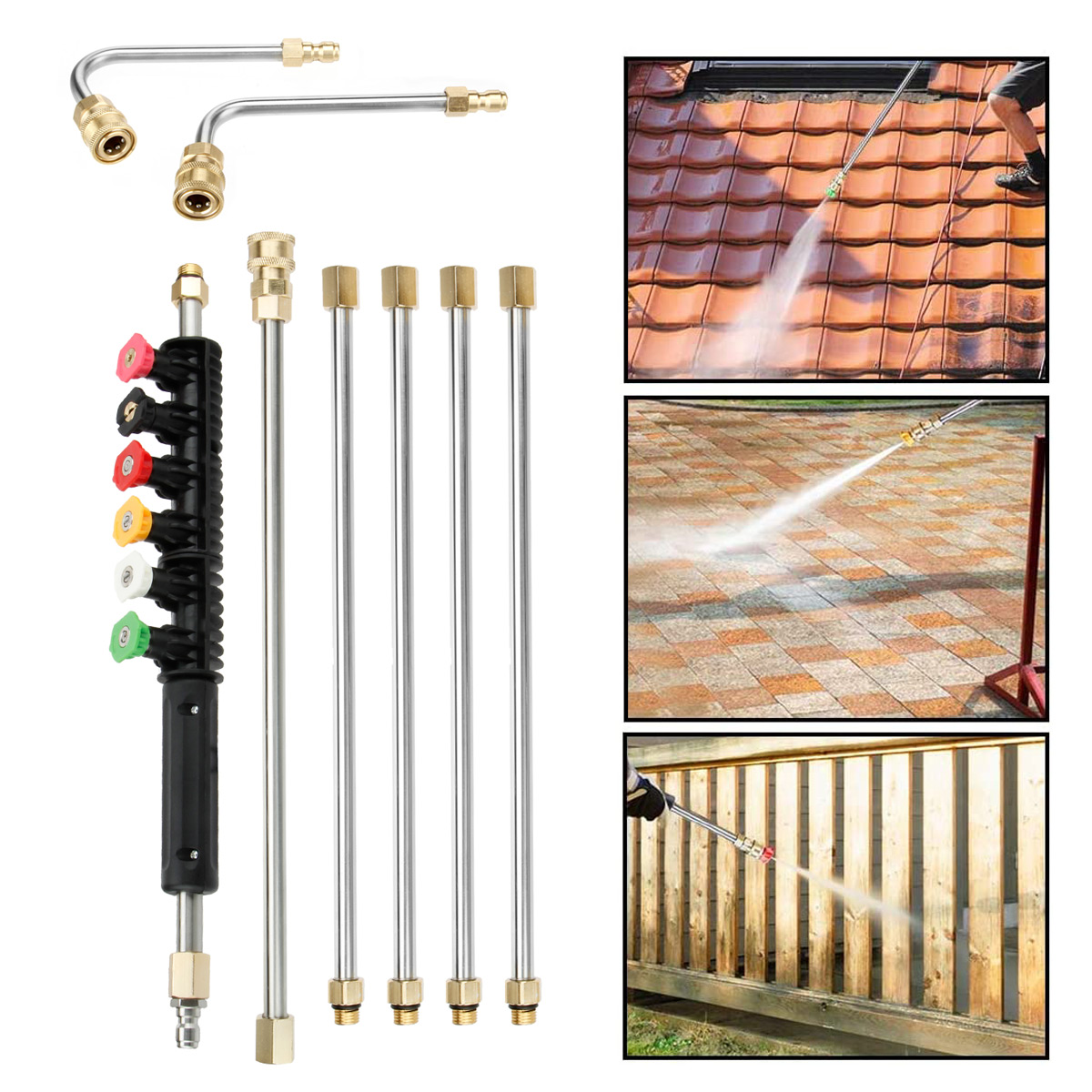 4000PSI High Pressure Washer Extension Wand Replace Turbo Nozzle Spray Tips