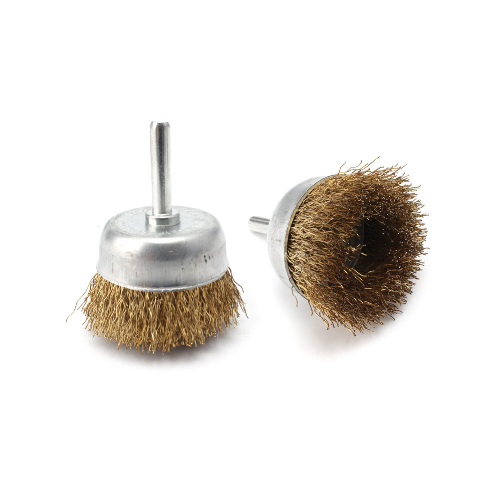 3pcs Crimped Pen Wire Brush Wire End Brush for Drill Metal Surface Cleaning