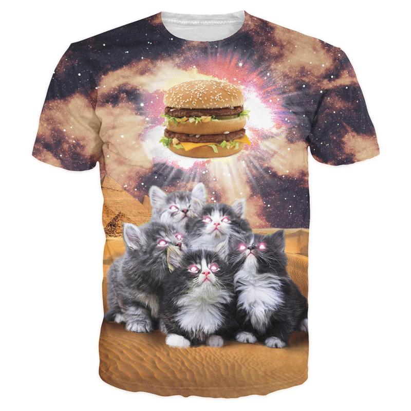 Men Women Funny Cat Admire Hamburger Print 3D T-Shirt Casual Short Sleeve S-5XL