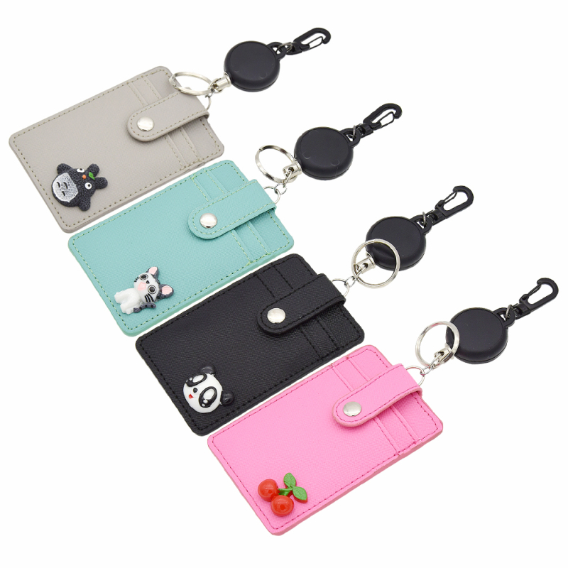 retractable porte cl porte carte de cr dit id etui en cuir mignon totoro chi 39 s ebay. Black Bedroom Furniture Sets. Home Design Ideas