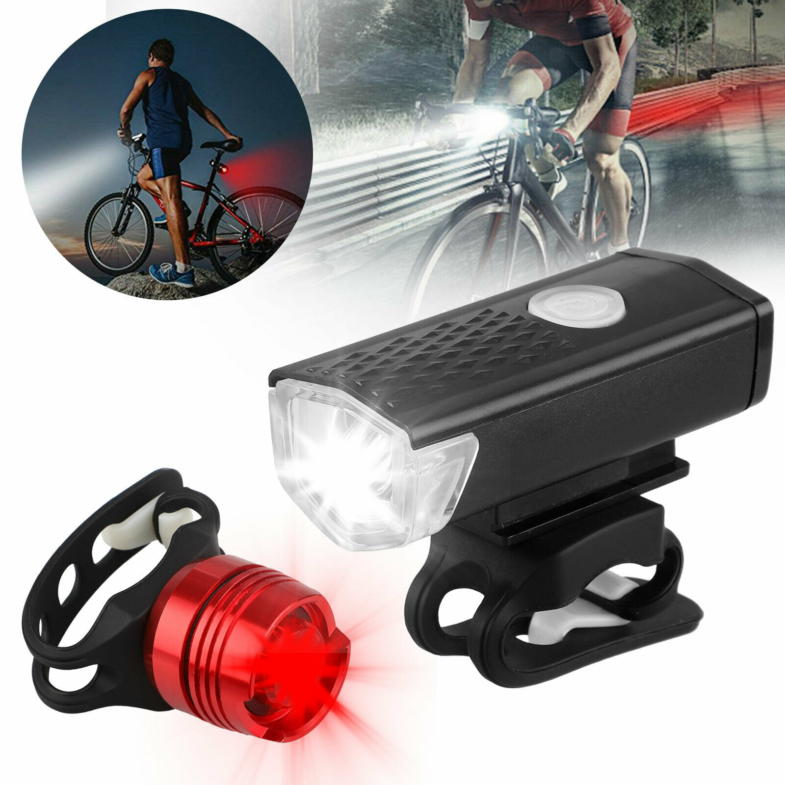 300LM USB Rechargeable LED Bicycle Cycling Headlight Front Light Rear Lamp CHL