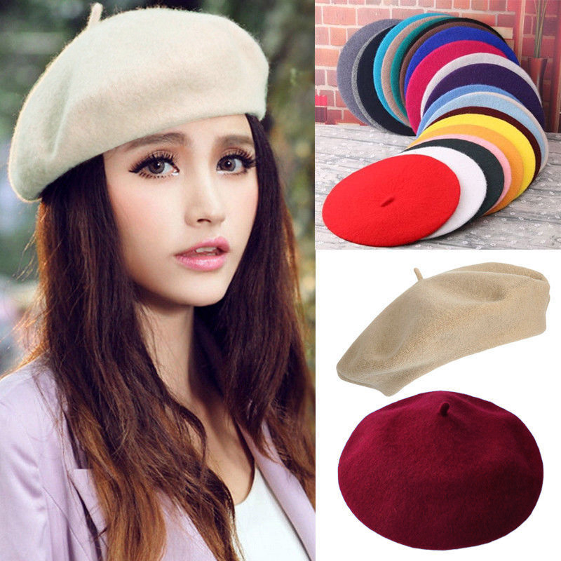 Details about Elegant Sweet Ladies Wool Blend Beret French Artist Warm  Classic Beanie Hats daa2783ba079