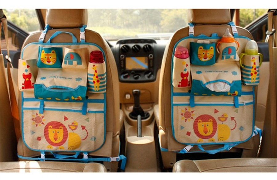 Cartoon Car Seat Back Multi-Pocket Storage Bag Organizer Holder For Kids Baby