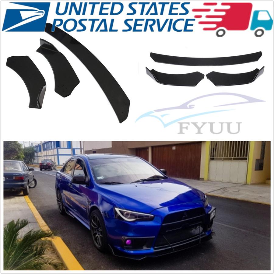 3X Car Front Bumper Lip Chin Spoiler Splitter Body Kit Universal Carbon Look USA