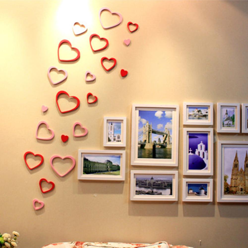 Extraíble de madera en forma de corazón Anillo 3D amantes Pared ...
