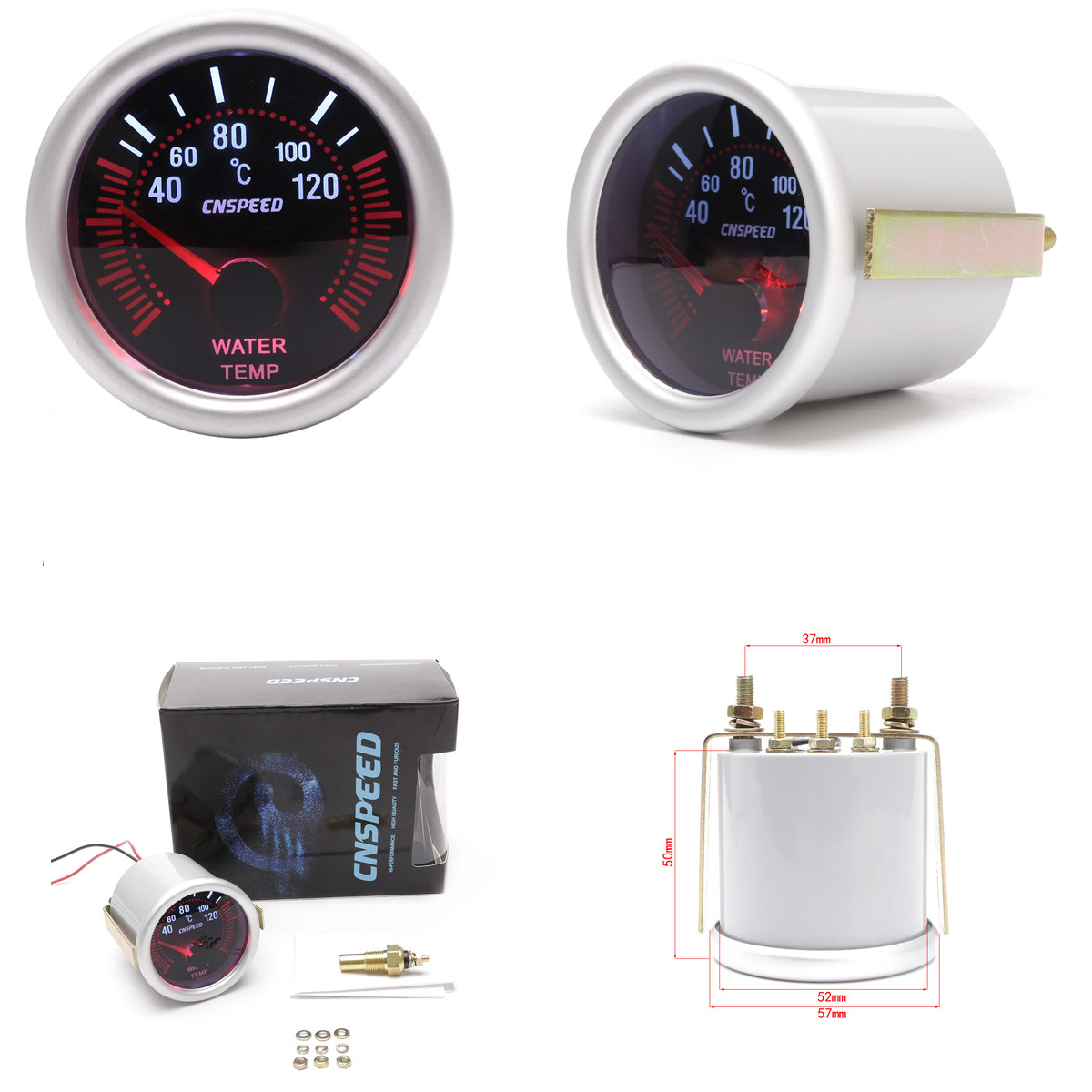 SING F LTD 2 inches White LED Car Water Temperature Gauge Meter Dials 40-120