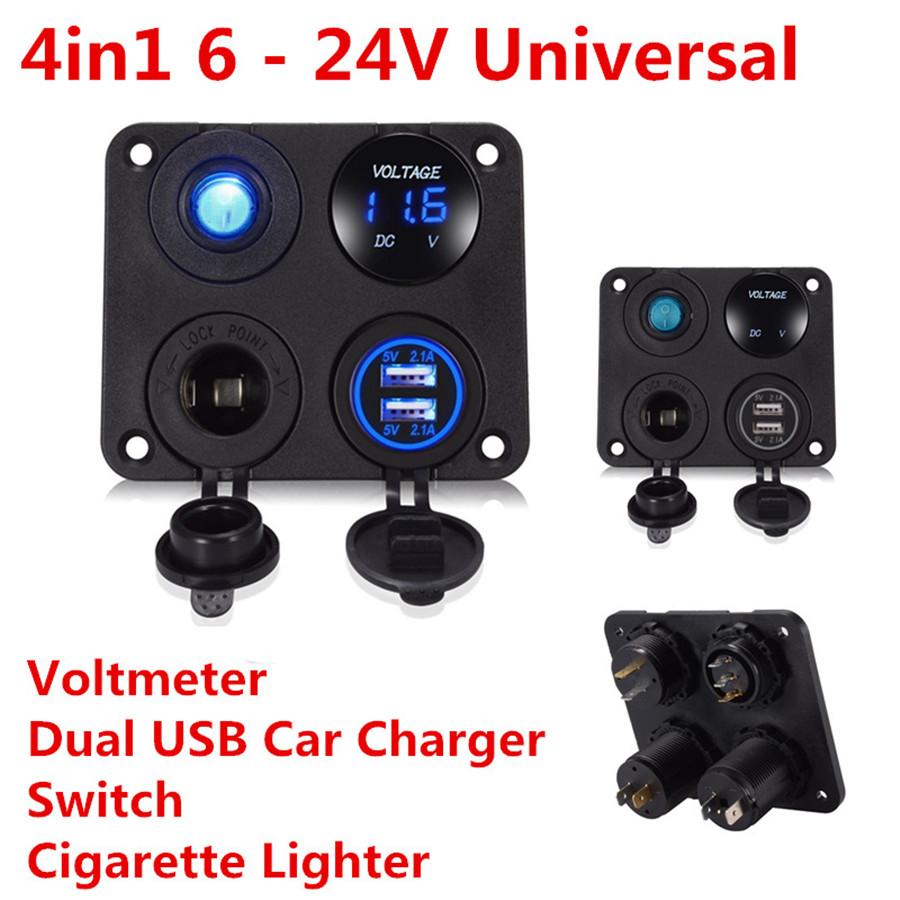 12V Auto Auto Digital Voltmeter Volt Gauge Meter USB Ladegerät  Switch Control R