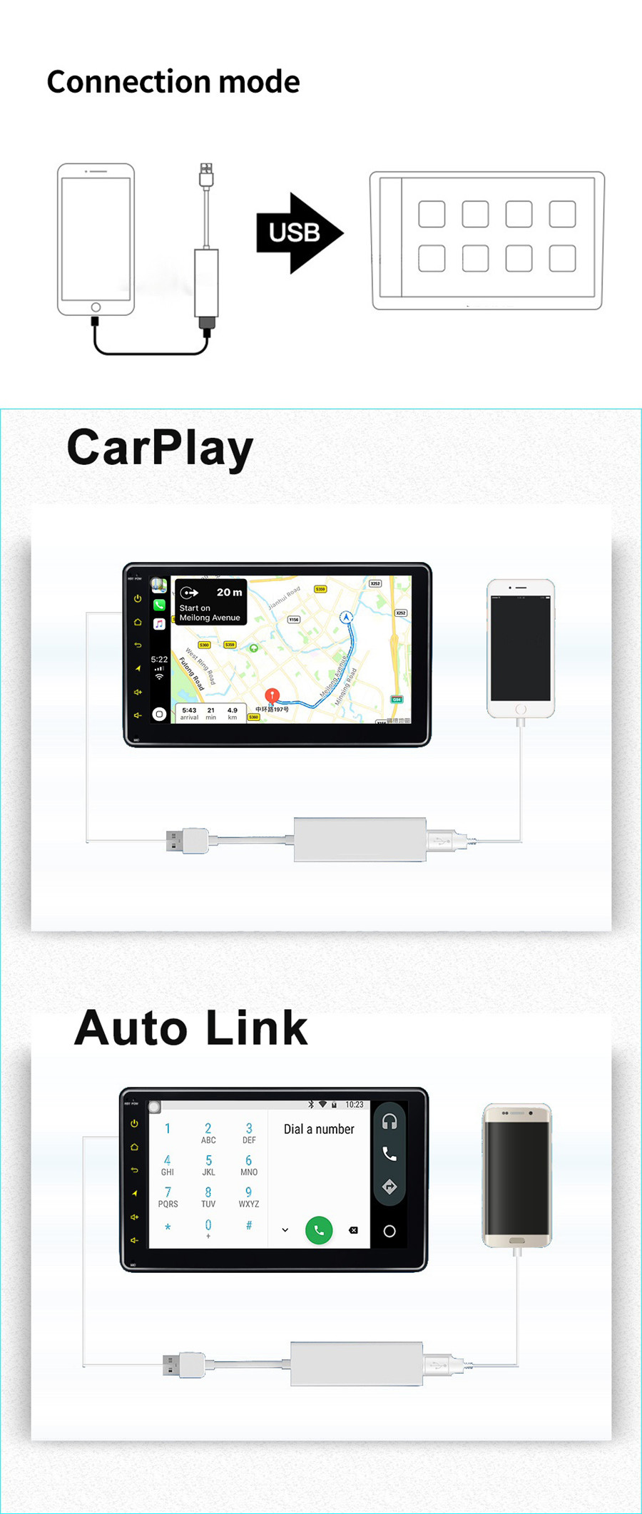car media player usb apple carplay dongle for android iphone ios10 wince system 6863535705505