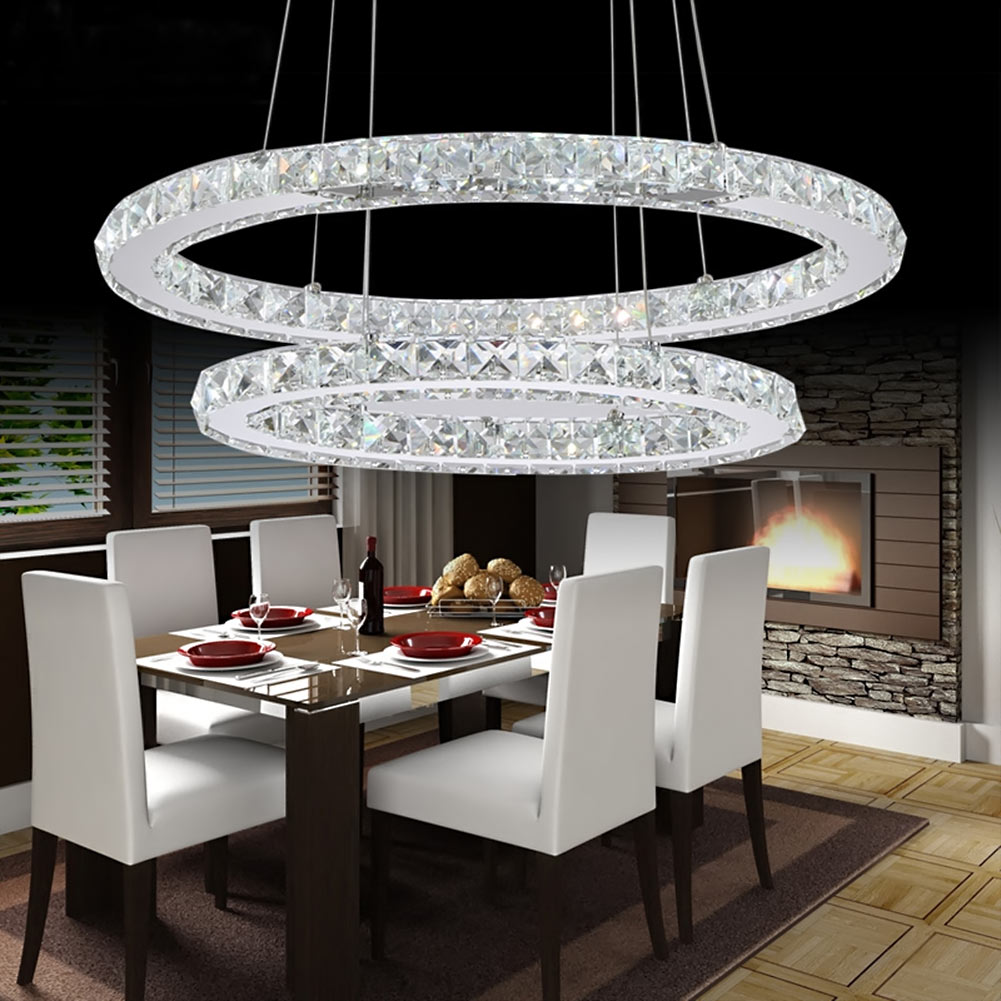 LED Crystal Ring Chandelier Pendant Light Lamp Ceiling
