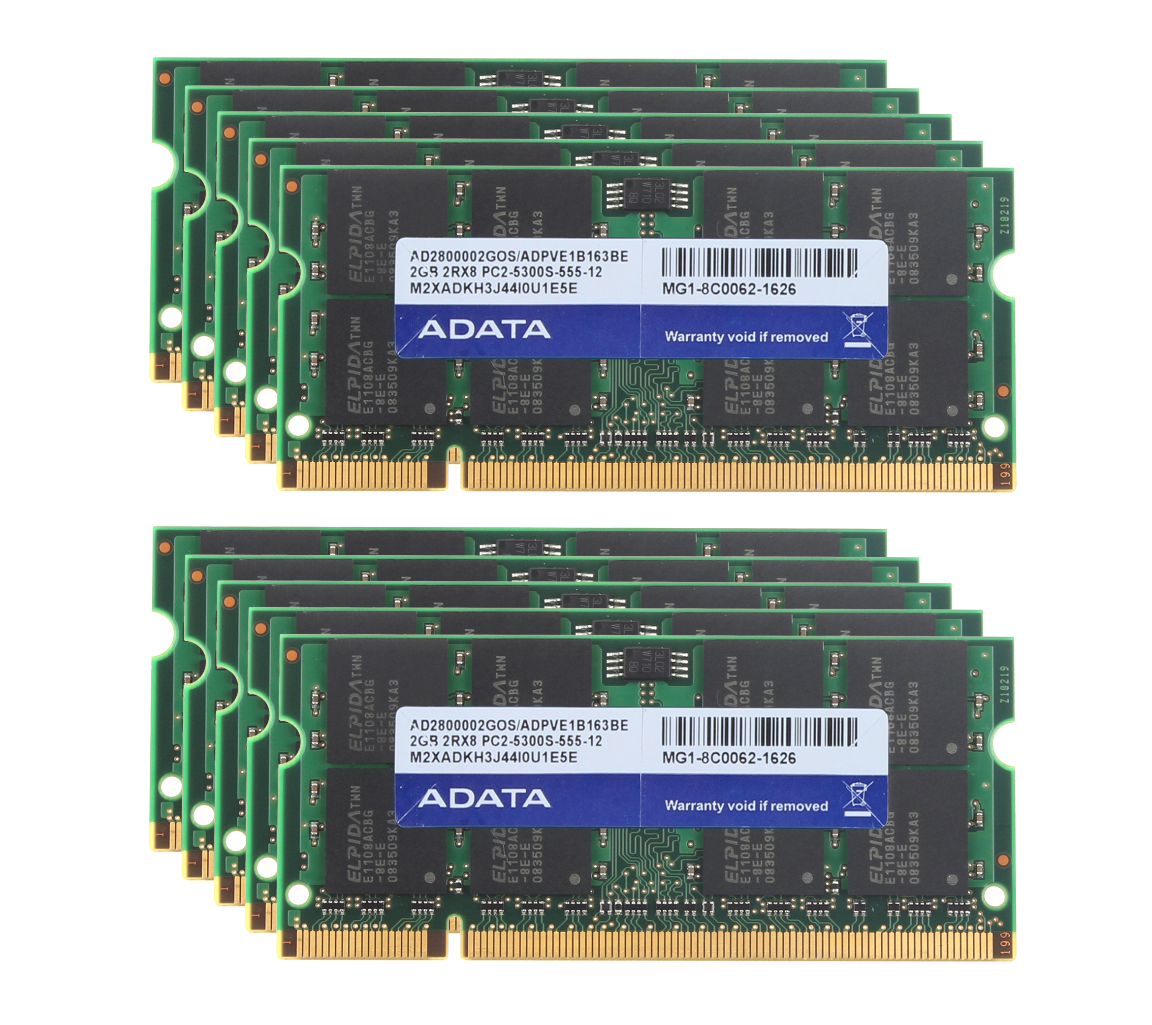 Adata 10pcs 2GB PC2-5300S Laptop Module DDR2 667Mhz Notebook SODIMM RAM Memory #