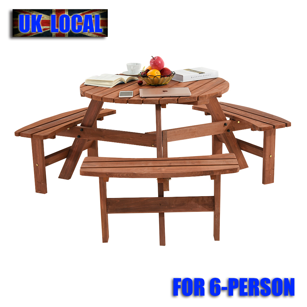 Prime Details About 6 Seater Wooden Pub Bench Round Picnic Table Furniture Garden Patio Table Chairs Gmtry Best Dining Table And Chair Ideas Images Gmtryco