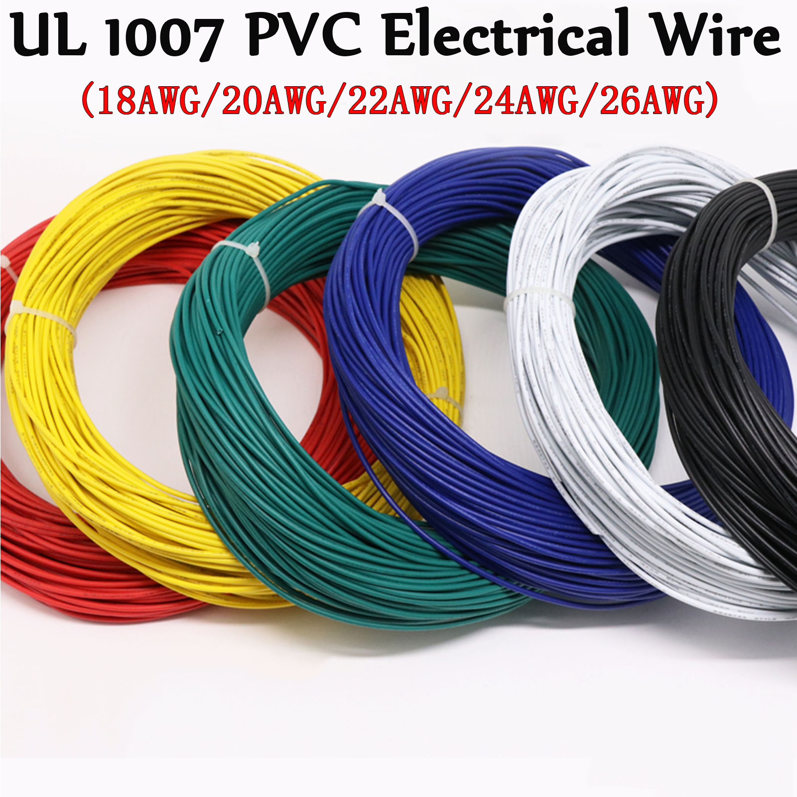 10 Meter PVC UL1007 Electrical Wire Cable 26//24//22//20//18AWG Copper Stranded Line