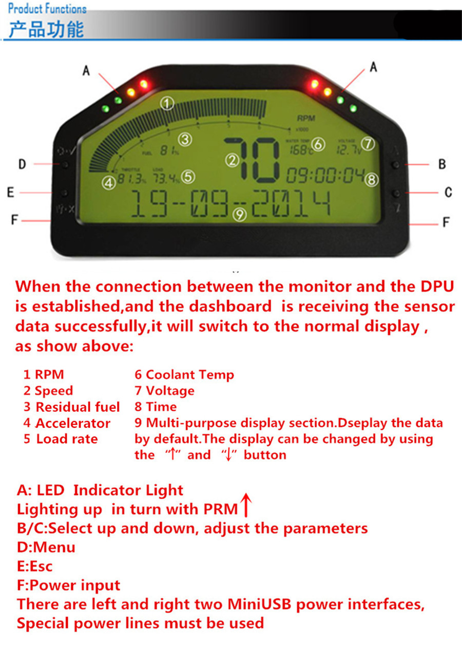 Universal car dash race lcd display obd2 bluetooth dashboard digital give fandeluxe Image collections
