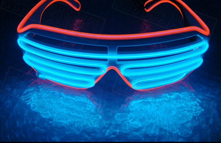 Sound Control EL Wire Neon LED Light Up Shutter Glasses For Parties ...