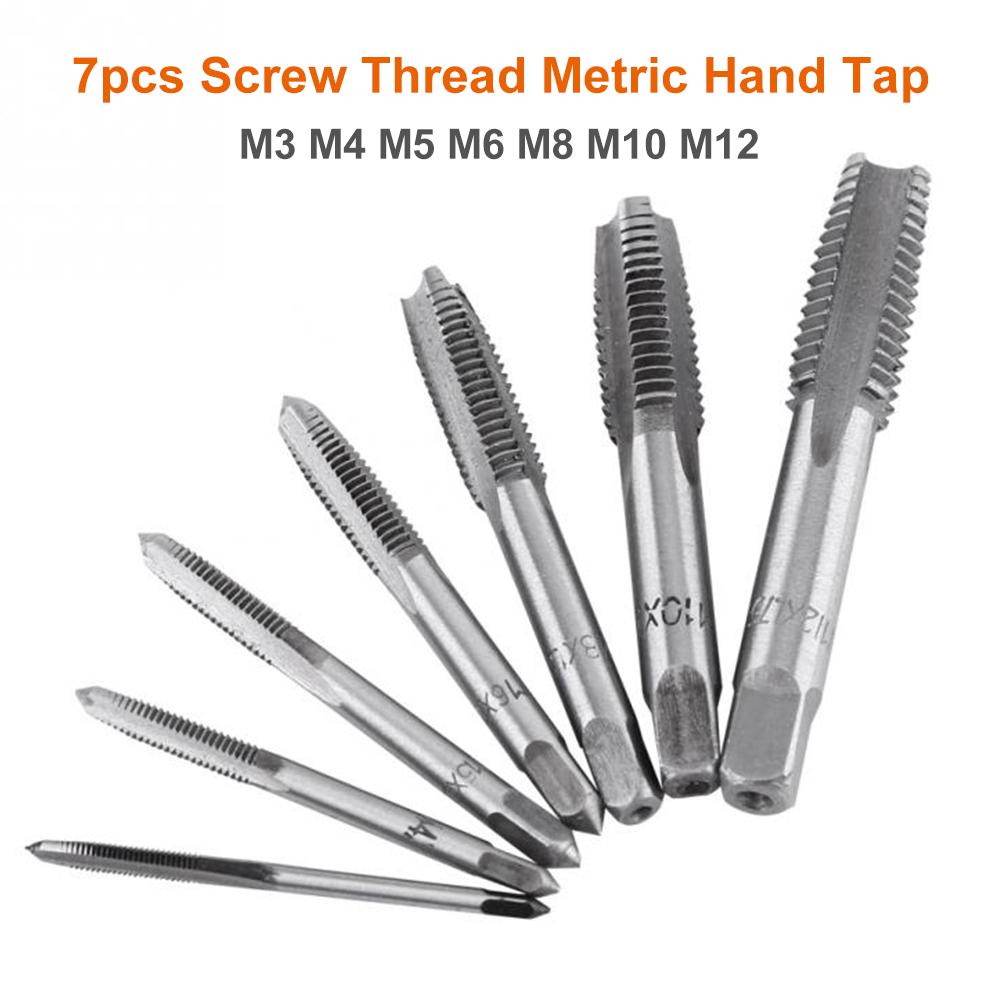 7x M3//M4//M5//M6//M8//M10//M12 HSS Hand Screw Machine Thread Straight Metric Plug Tap