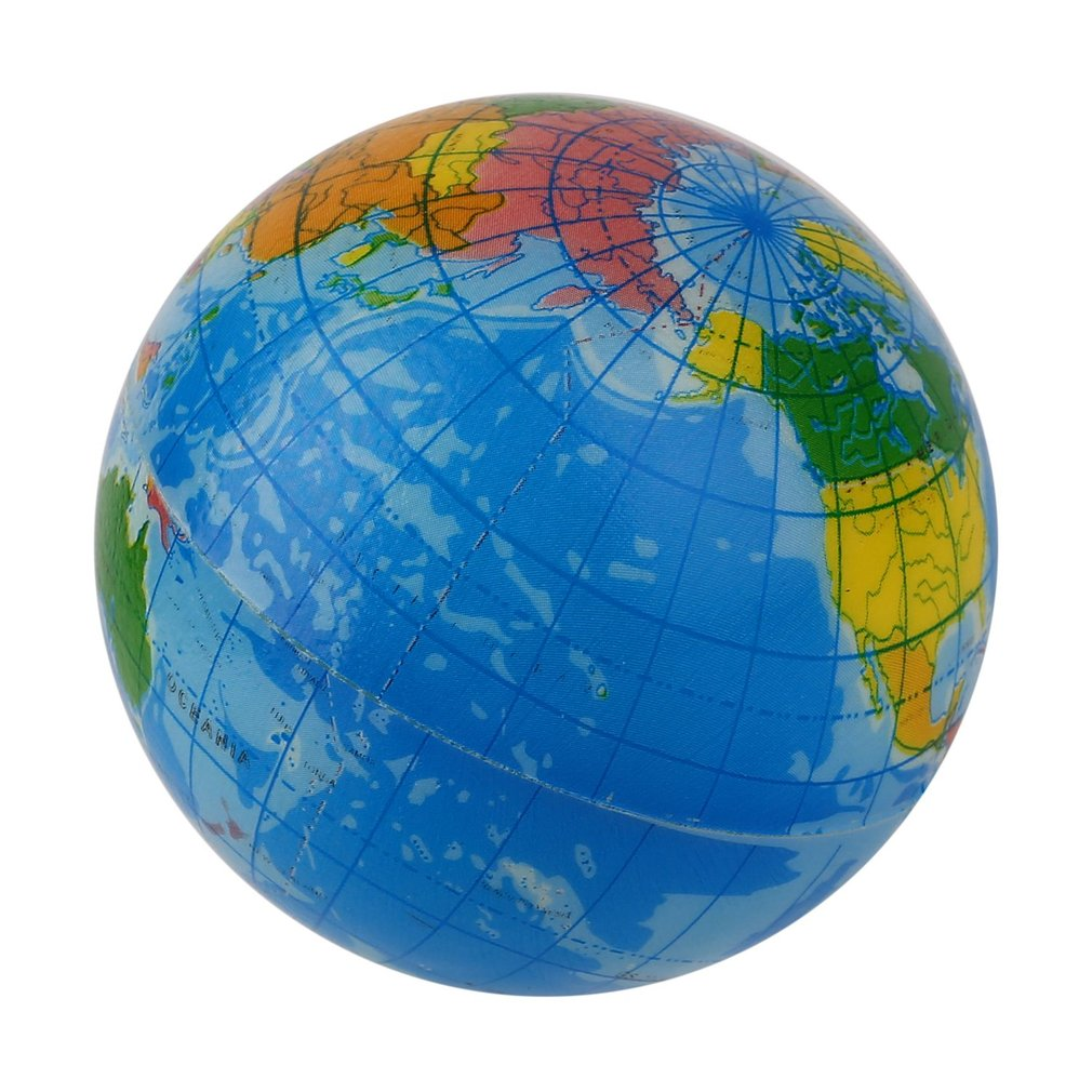 J world map foam earth globe stress relief bouncy ball atlas world map foam earth globe stress relief bouncy ball atlas geography toy 100 brand new palm sized globe ball made of bouncy squeeze foam gumiabroncs Images