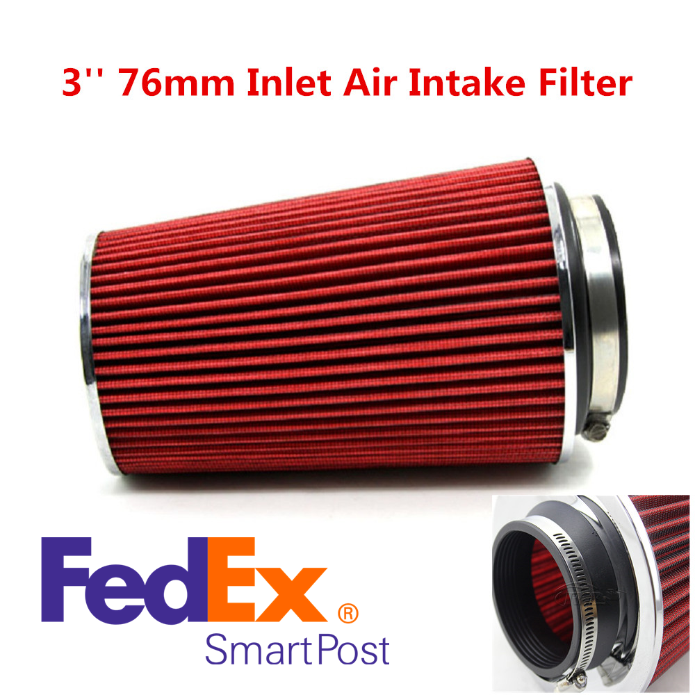 """RED 1990 UNIVERSAL 76mm 3/"""" SMALL  AIR INTAKE FILTER"""