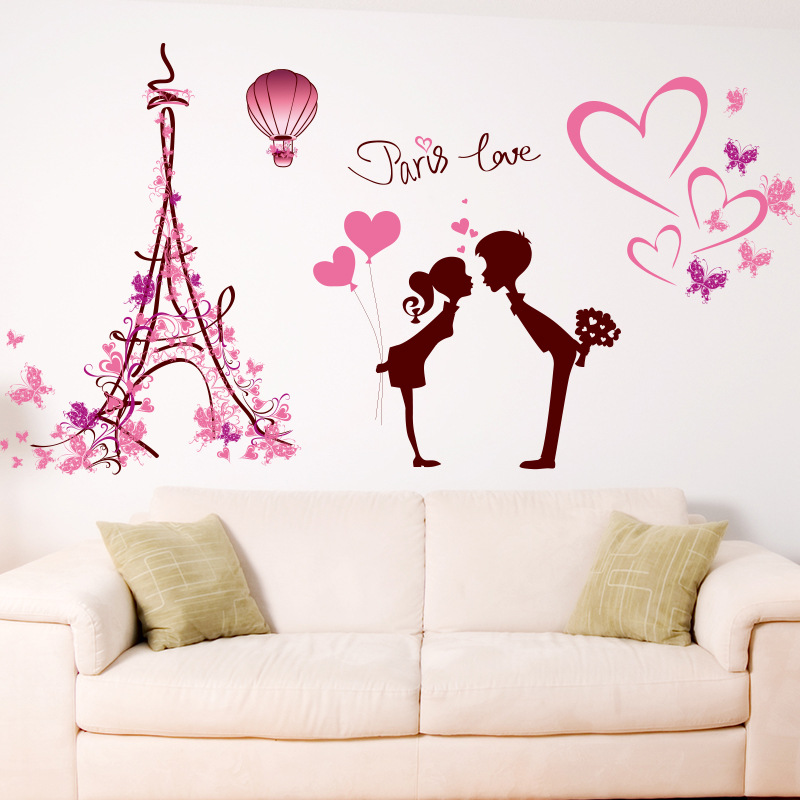 usa paris love removable wall sticker art vinyl decal mural home