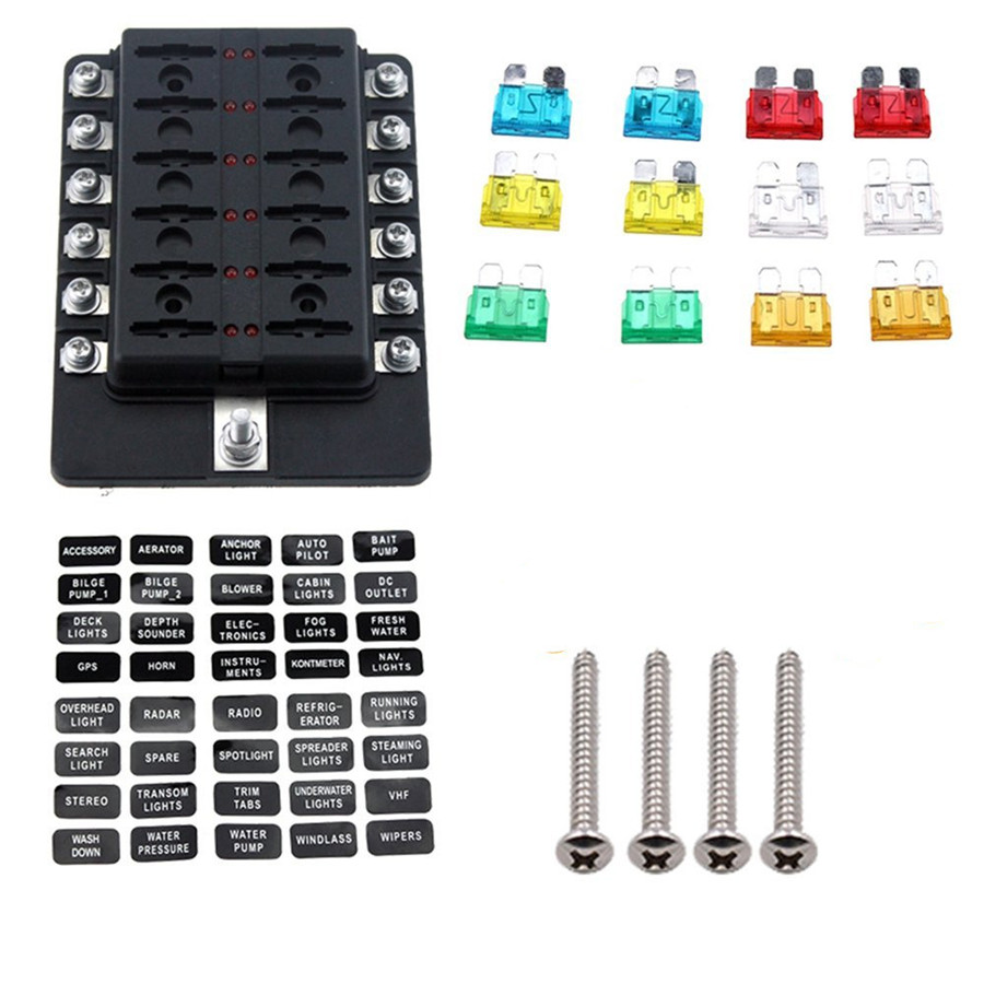 universal car 12 way led circuit standard ato atc blade fuse box block  holder