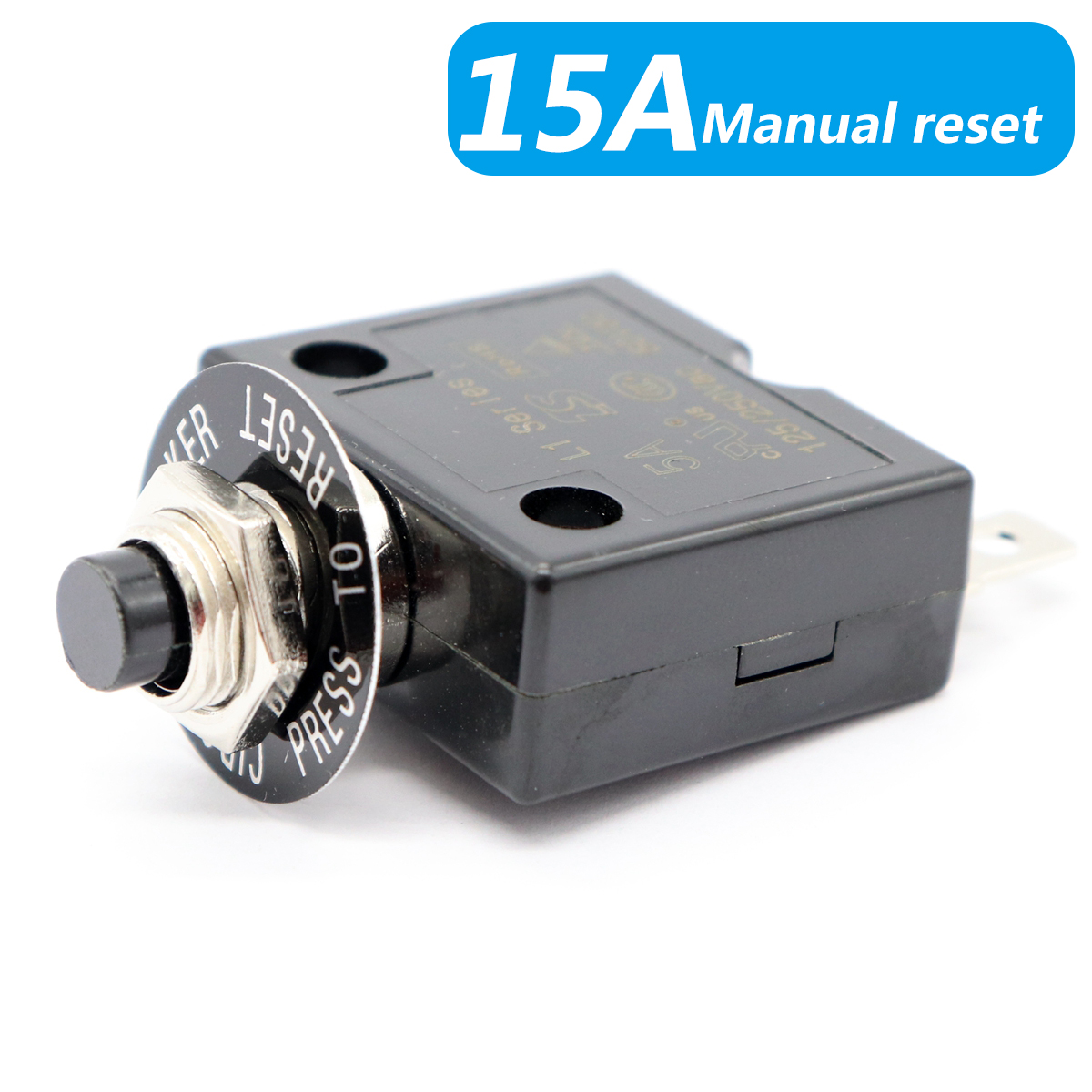 15 Amp Thermal Circuit Breaker AC DC 15a Push-to-Reset