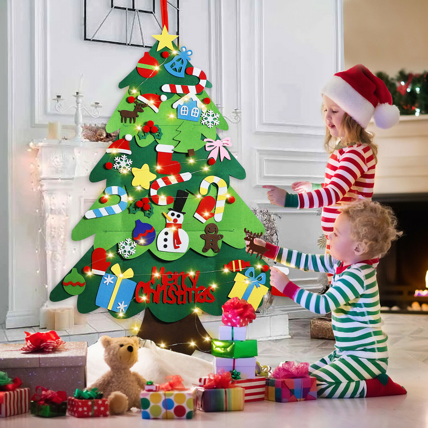 3ft Kids Diy Felt Christmas Tree With Ornaments Xmas Gift Wall Hanging Decor Ebay