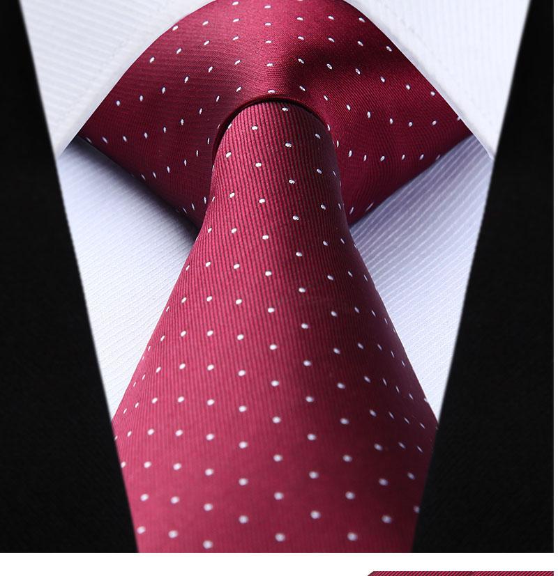 "Hisdern Polka Dot Solid 3.4/""Silk Mens Tie Extra Long Necktie Handkerchief Set#Q9"