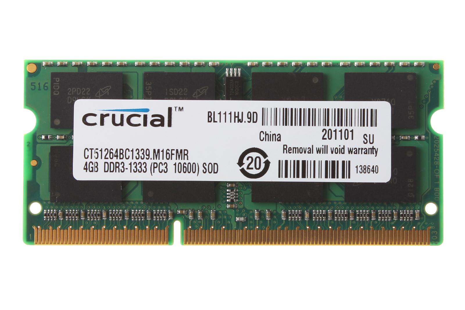 8 GB 2x 4GB Crucial 4 GB PC3-10600 DDR3 1333Mhz 204Pin SODIMM Laptop Memory RAM