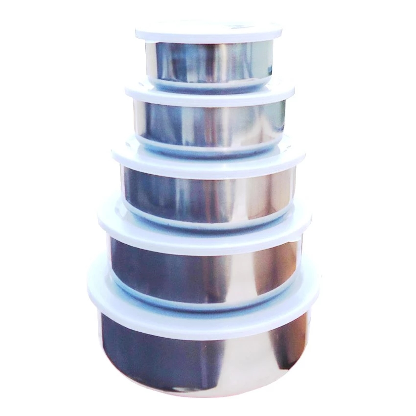 5 In 1-Stainless Steel Food Container Stainless Steel Clear Storage Bowl Set UK