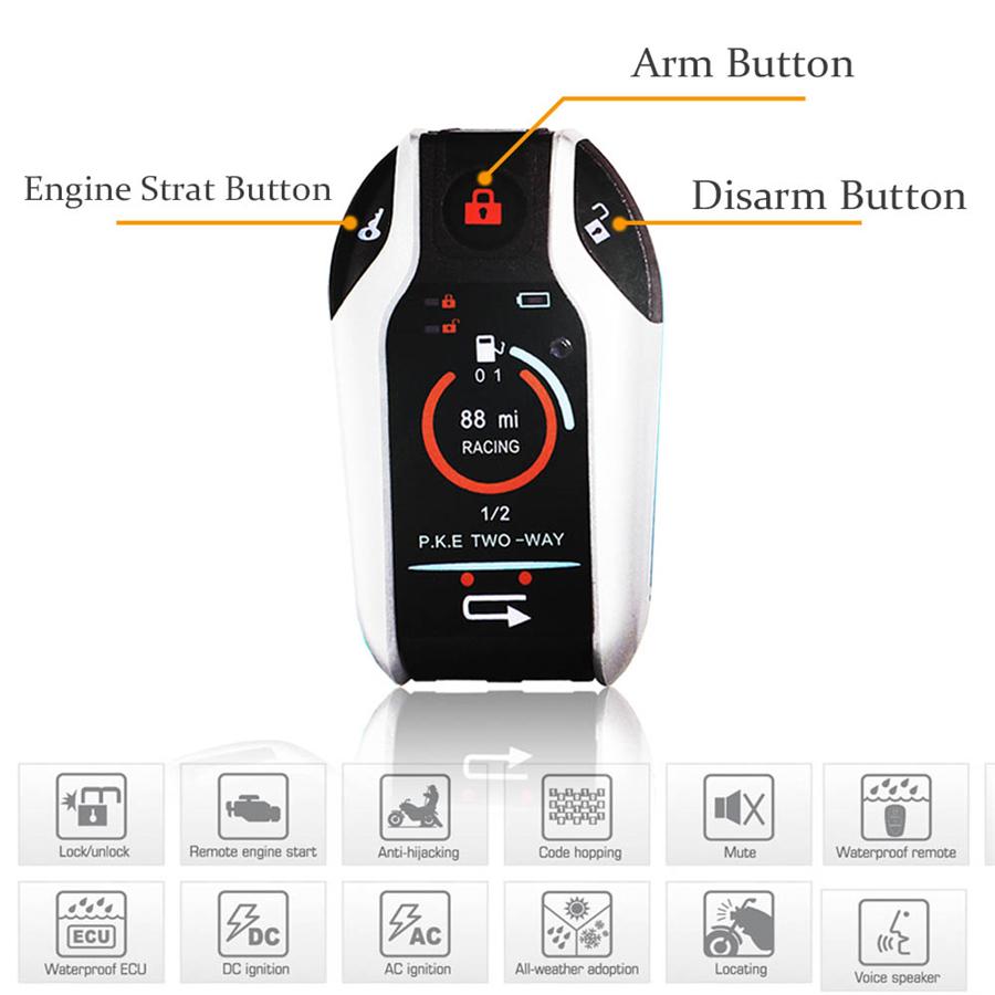 Pke 2 Way Motorcycle Alarm Security System Remote Engine