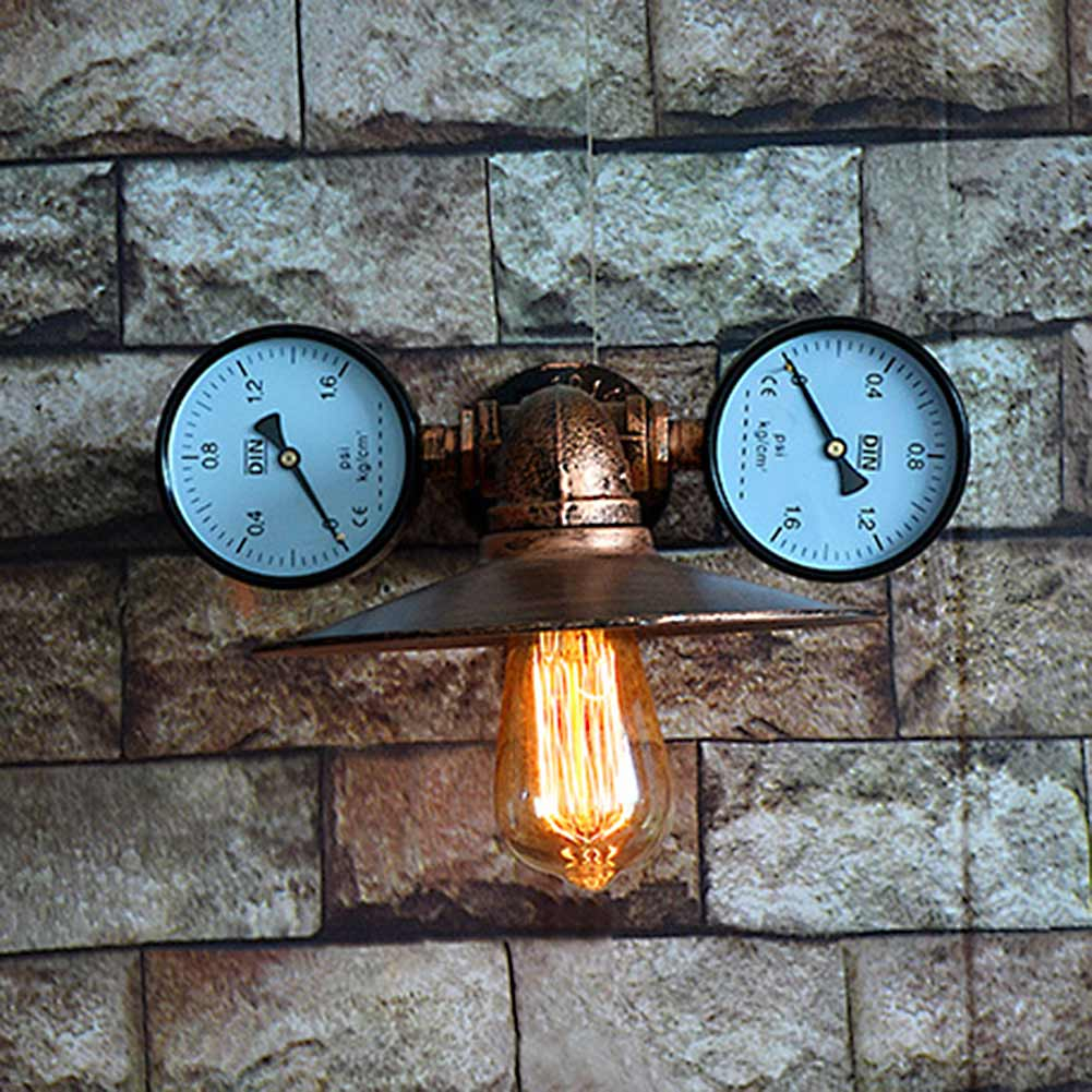 Vintage Water Pipe Wall Lamp Retro Cafe Bar DIY Sconce Twin Clock ...