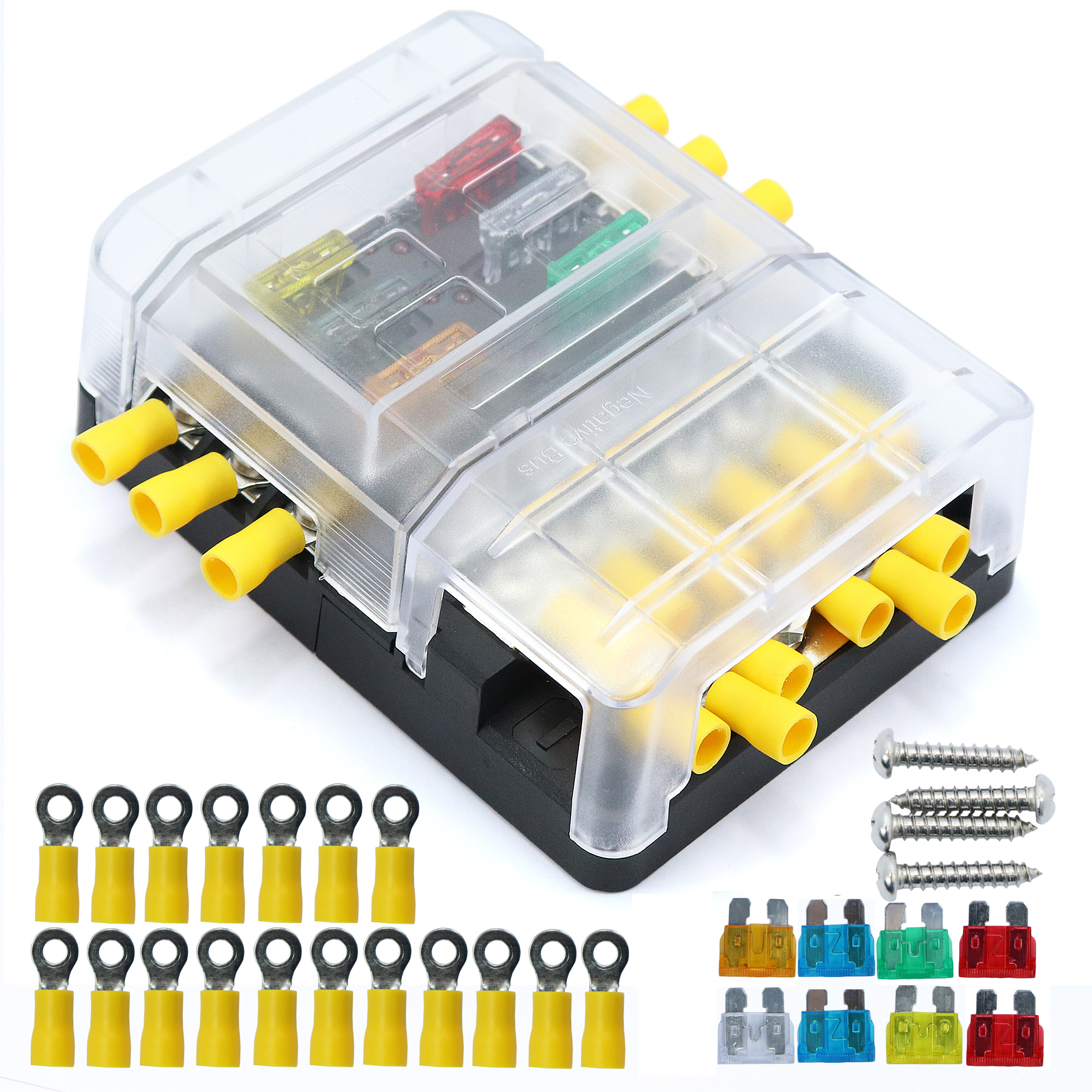 details about car boat 6 way junction box fuses holder terminal kits with waterproof cover Change Fuse Home Fuse Box