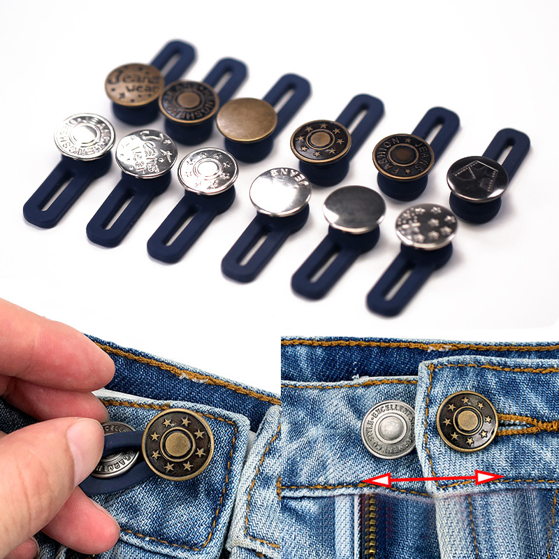 Bronze ZOCONE 6 Sets Adjustable Waist Buckle Extender Set Replacement Jeans Button Perfect Fit Metal Instant Button for Jeans Pants Skirt