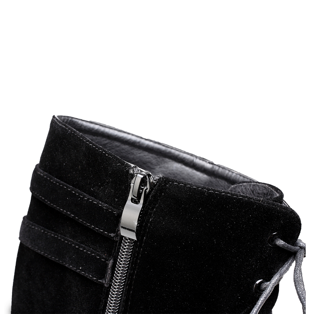 57ae18e73b Womens Suede Buckle Rock Lace Up Zipped Knee High Boots High Heel ...