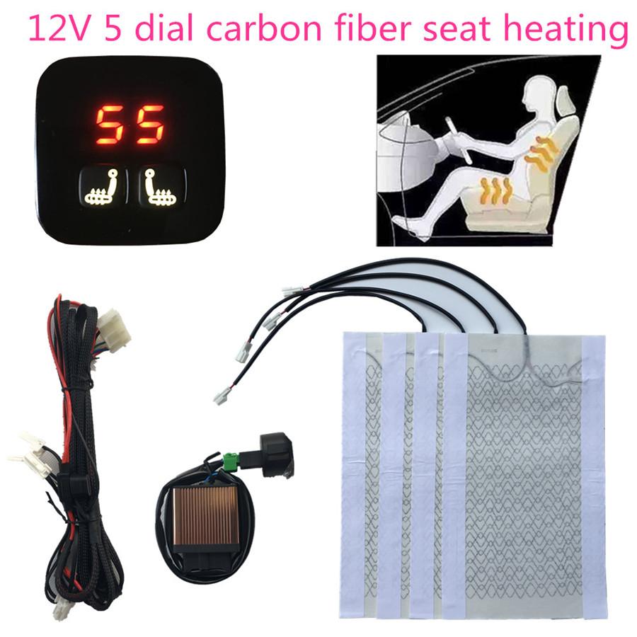 4pcs Cushion 2 Seats Universal Car Heated Pads Carbon Fiber Seat Heater Kit