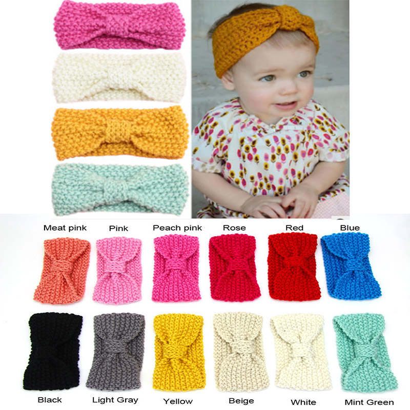 Girls Baby Cute Kids Toddler Crochet Bow Headband Hair Band Accessories Winter