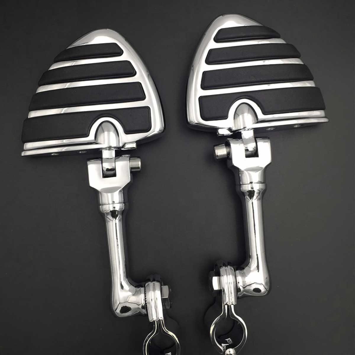 """New Offset Adjustable Highway Peg Kuryakyn Large Foot pegs 1.25/"""" Clamps Chrome"""