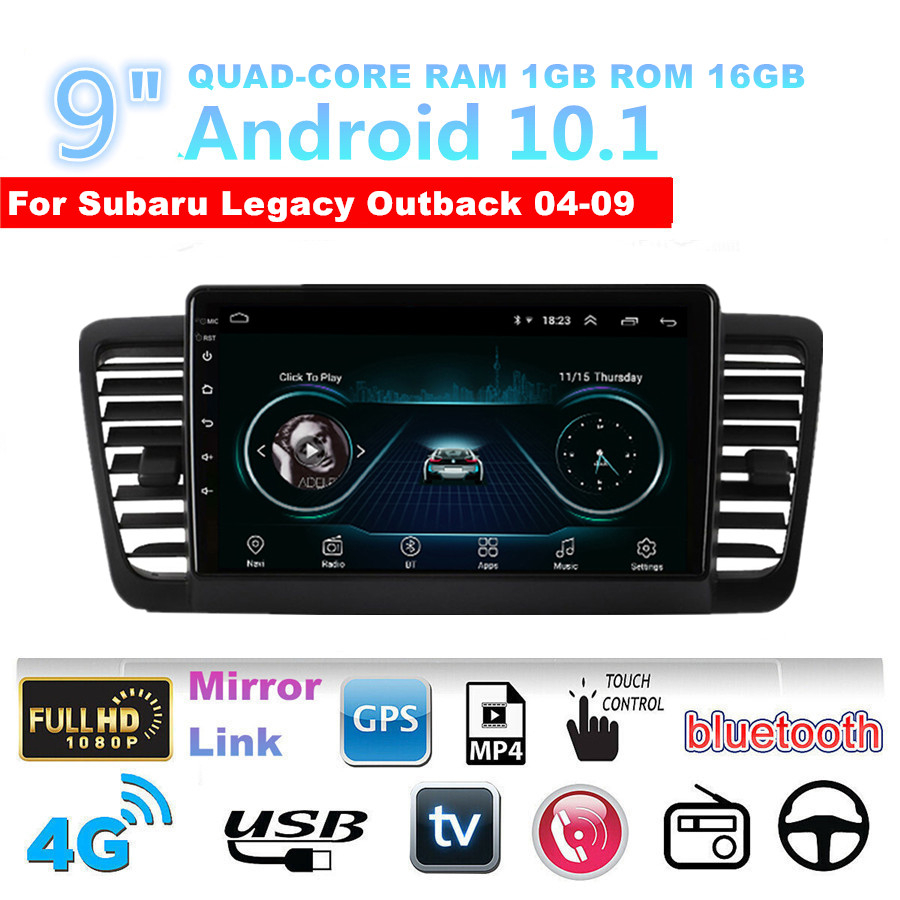 For 2003-09 Subaru Outback Legacy 4+32GB Android 10.1 Car Stereo Radio GPS 9inch