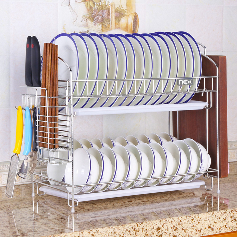 Stainless Steel Dish Rack Over Sink Bowl Shelf Organizer