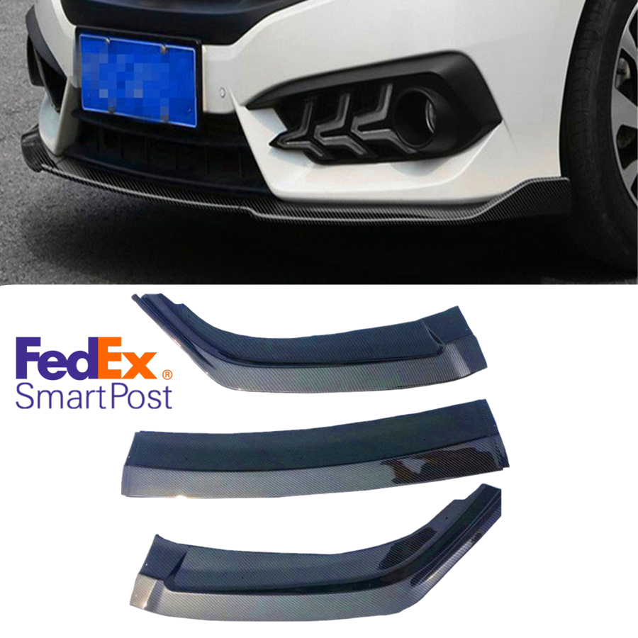 Carbon Fiber Pattern Front Bumper Spoiler Lip Splitter Body Kit Set Fit for 2016-2018 Honda Civic Sedan 4DR