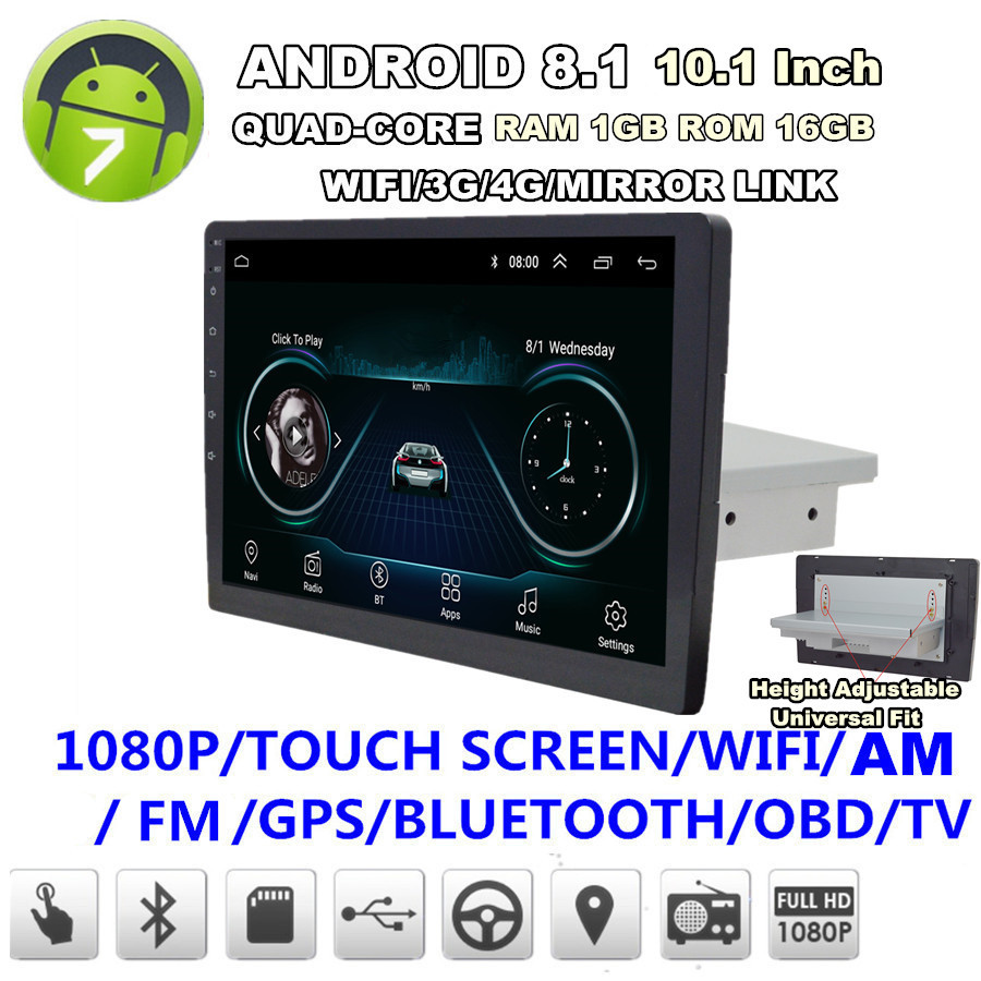 "Single Din Android 8.1 10.1/"" Car Stereo Radio GPS WiFi 3G 4G BT DAB Mirror Link"