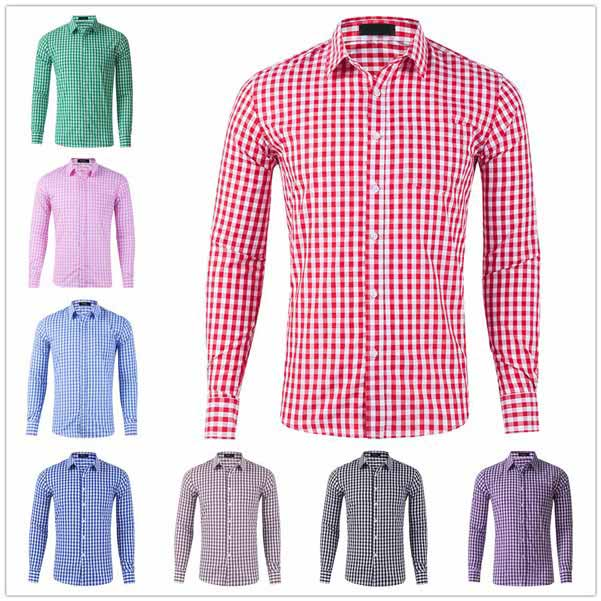 Fashion Mens Plaid Long Sleeve T Shirt Casual Slim Fit Dress Shirts Formal Tops