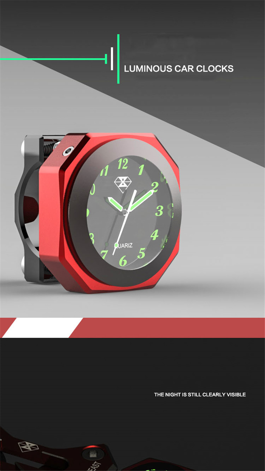 22-28mm Modified Red Luminous Thermometer Waterproof Cool Styling CNN Craft//Gift