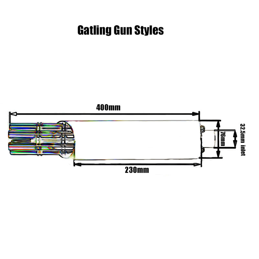 New Gatling Gun Motorcycle Rotated Muffler Pipe Exhaust Gas Driven Kawasaki Kt250 Wiring Diagram Product Description