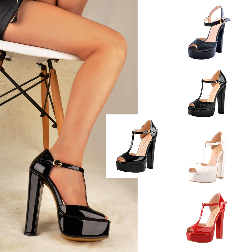 Women Summer Square Heels Sandals Wide Width Shoes Ladies Fashion Ankle Strap Peep Toe Sandals
