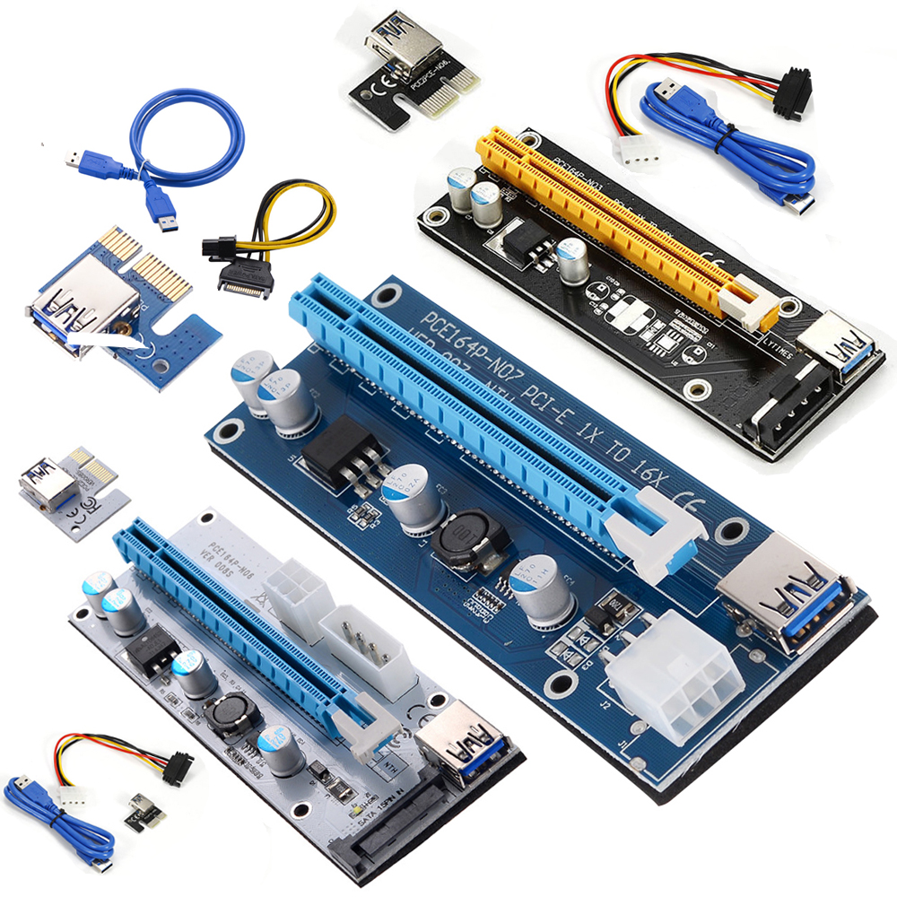 USB 3.0 PCI-E Express 1xto16x Extender Riser Card Adapter SATA Power Cable New