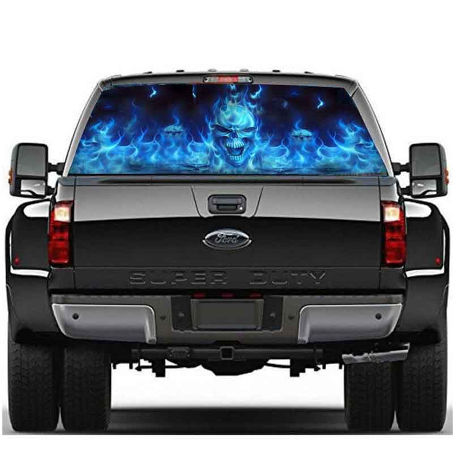 Flaming Skull Ghost Rear Window Tailgate Tint Decal Film ...