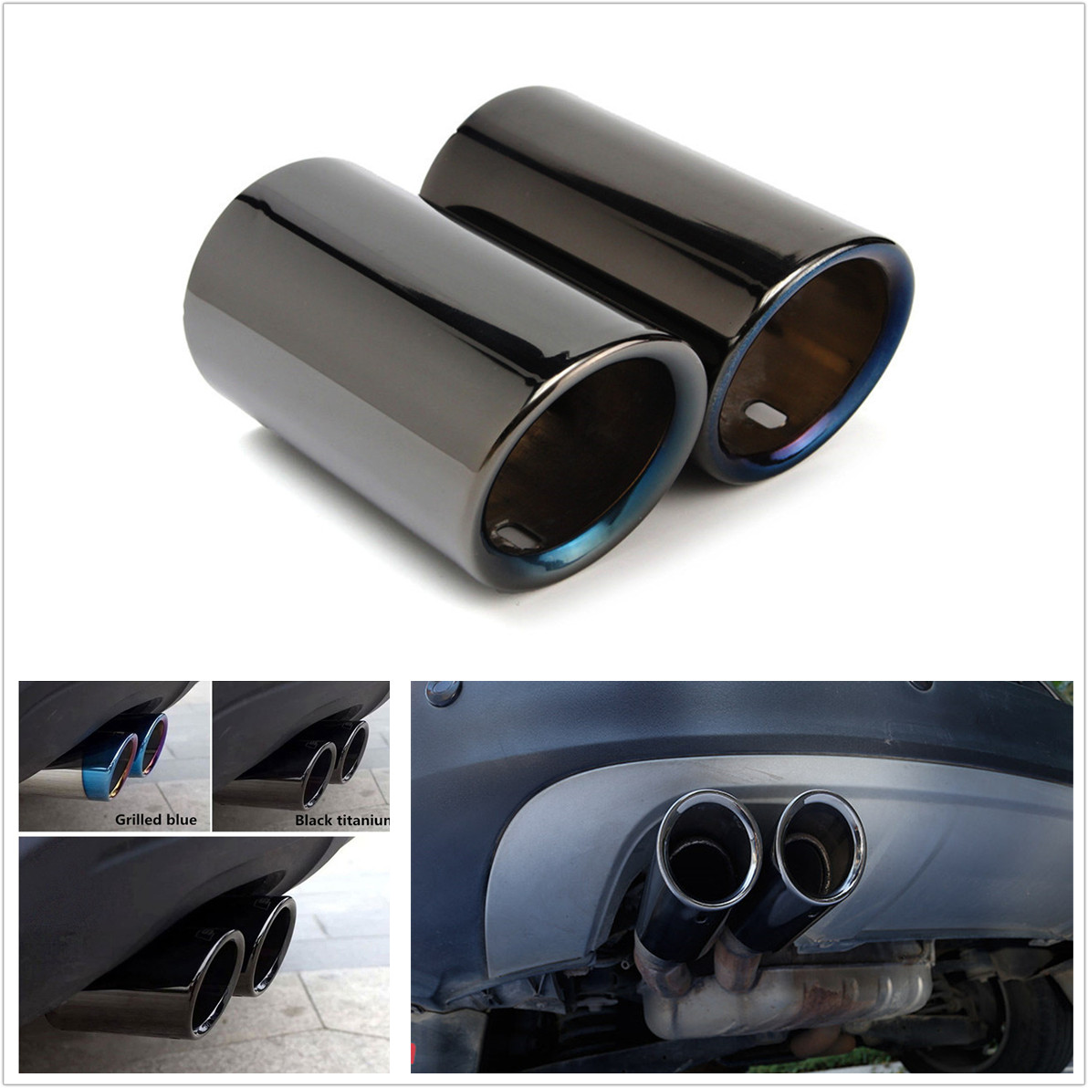 2X Chrome Titanium Blue Car Stainless Steel Exhaust Tail Pipes Muffler Work Well